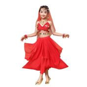 Vanvler Kids' Girls Sequin Belly Dance Outfit Costume India Dance Clothes Top+Skirt
