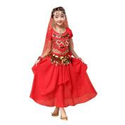 Vanvler Kids' Girls Belly Dance Outfit Costume India Dance Clothes Top+Skirt