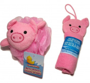 Adorable Pink Piggy Novelty Wash Cloths and Sponge Scrubbies for Babies and Toddlers; Animal Friends Make Bathing Fun (Pink Piggy); 2-pc