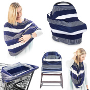 Premium 4-in-1 Breastfeeding Cover Up & Nursing Poncho/Baby Car Seat Covers/ Shopping Cart Cover For Baby/ Universal High Chair Cover, Perfect Baby Shower Gifts for Boys & Girls