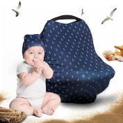Baby Car Seat Cover Gift Set - Stretchy Multi Use Canopy for Infants | Best Cover for Carseats, Nursing, High Chair, Shopping Cart | Includes Baby Beanie and Carrying Case