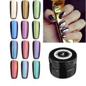 Nail Mirror Powder, Fullfun 12 Colours Nail Glitter Powder Shinning Nail Mirror Powder Makeup Art DIY Chrome Pigment With Sponge Stick Pen