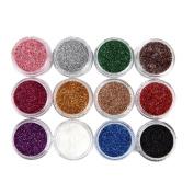 Nail Mirror Powder, Fullfun 12 Colour Nail Art Gradual Shimmering Sequins Powder