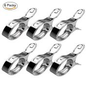 Joyoldelf Large Windproof Pegs, Beach Towel Clips Holders Quilt Clips –Set of 6, Stainless Steel