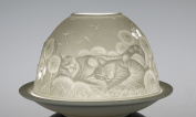 """Plaristo """"Cats Playing"""" Tea Light Holder with 6.5 cm High Porcelain Dome Light, White"""