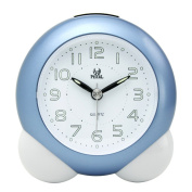 Pingenaneer Quartz Analogue Bell Alarm Clock with Nightlight & Loud Alarm,No-Ticking,Snooze Function and Battery Operated - Blue