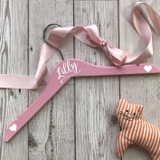 Personalised Wooden Wedding Hanger for Flower Girls and Mini Bridesmaids Pink Hanger