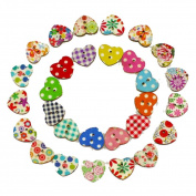 IGEMY 100 Multicolor Heart Shape 2 Holes Wood Sewing Buttons Scrapbooking Knopf BoutonWooden Button Sewing Scrapbooking DIY Craft
