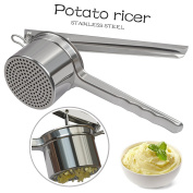 HomDSim Potato Ricer,Stainless Steel Potato Masher,Ricer Press for Fruit Vegetable Noodle Maker,Baby Food Strainer with 3 piece interchangeable discs