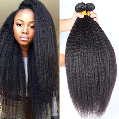 Rosette Hair Kinky Straight Hair Wave Hair Extension/Weft, 100% Brazilian Virgin Remy Human Hair with Unprocessed Natural Black Colour, Size 30cm - 60cm (3 Mixed Bundle 46cm 50cm 60cm , Kinky Straight)