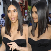 Joywigs KimKardashian Long Bob Wig Human Hair Lace Front Wig Middle Parting 180% Full Density Same Length Cut Bob Lace Wig 41cm Natural Colour