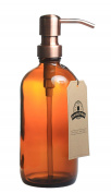 Amber Glass Bottle Soap and Lotion Dispenser with Copper Pump - Bird Head - 470ml - by Jarmazing Products
