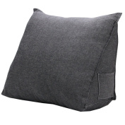 QHYT Lumbar Cushion Back Support Pillow with Small Pocket Cotton Filling Dark Grey