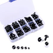 150 Pcs 6-12mm Plastic Safety Eyes with Washers for Doll Making