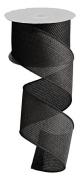 Black Cross Royal Burlap Wired Edge Ribbon - 6.4cm x 10 yards