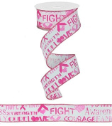 Breast Cancer Awareness Wired Edge Ribbon (Pink, White) - 3.8cm x 10 yards