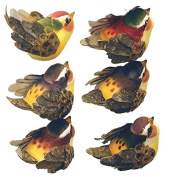 Package of 12 Artificial Mushroom Finch Birds with Woodland Accents for Embellishing Arrangements, Crafting and Creating