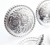 2.5cm - 1.3cm Set Of 4 Western Saddle Bright Engraved Concho Screw Back