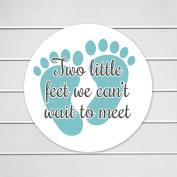 100cm - 5.1cm Two Little Feet We Can't Wait to Meet It's a Girl, It's a Boy, Baby Shower Stickers
