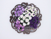 100 Pcs Mini Rose Mix Dark Sweet Purple Shade 10 mm Mulberry Paper Flowers Scrapbooking Wedding Decoration