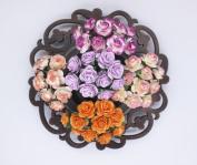 100 Pcs Mini Rose Mix Sweet Vintage Shade 10 mm Mulberry Paper Flowers Scrapbooking Wedding Decoration