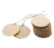 100PCS Scalloped Round Shape Kraft Paper Gift Tags Labels Wedding Party Favour Name Card Price Tags with Jute Twines, Brown