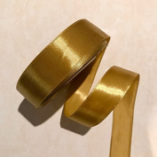 2.5cm Single Face Satin Ribbon Price Per Roll/25 Yards in Old Gold Available in 14 Colours