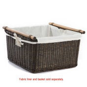 The Basket Lady Fabric Liner for Deep Pole Handle Wicker Storage Basket, XL
