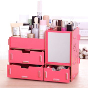 Tamengi Makeup Organiser Case Cosmetic Organiser Wood Box Assembly With Mirror