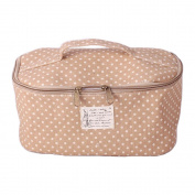 Natural Cotton and Linen Polka Dots Cosmetic Makeup Bag Carry Case Khaki