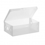 QIANDUOO 5pcs Foldable Plastic Shoe Storage Case Boxes Stackable Organiser Shoe Holder