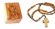 Olive Wood First Communion Jewellery Box with Rosary Set by Bethlehem Gifts TM