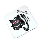 Alice in Wonderland Black & White Cheshire Cat Wooden Coaster Gift