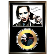MARILYN MANSON - SIGNED FRAMED GOLD CD & PHOTO DISPLAY
