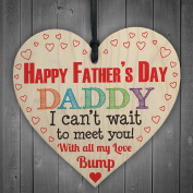 Red Ocean Happy Father's Day From Bump Daddy Dad Gift Plaque Wooden Heart Husband Cute Love Sign