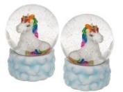 Lovely Rainbow Unicorn Snow Globe on Pretty Cloud Base