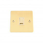 Light Switch Single 1 Gang - Polished Mirror Brass Flat - White Insert - Metal Rocker Switch - 10 Amp 1 Gang 2 Way