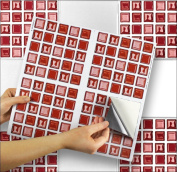 """RED GLASS sheet of 4 Transfer Tile Stickers for 6"""" x 6"""" (15cm x 15cm) tiles 3M Self Adhesive sheet of four tile sticker transfers for Kitchens & Bathrooms Fully wipeable, steam and heat resistant, non see through material. 35 NEW STYLES available from .."""