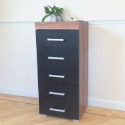 Black & Walnut Tall Boy Chest of 5 Drawers Bedroom Furniture - Narrow Slim Draw