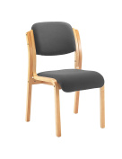Office Hippo Wood Framed Visitor Stacking Chair - Charcoal Grey