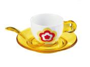 Guizzini Set of 2 Floreal Espresso Cups & Sauser YELLOW