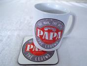 Papa the man the Myth the Legend 330ml ceramic mug and coaster gift fathers day christmas ®