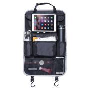 Hsakei Car Back seat Organiser With Built-In iPad/Tablet Holder Multi-Pocket Cargo Storage Kick Mat Organiser Protectors For Car, SUV, Trunk,Baby Stroller