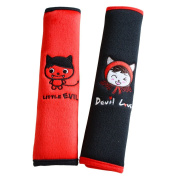 2 Pcs. Black Devil Love and Little Evil Carseat Strap Cover Pad for Babies, Seatbelt Plush Neck Pads Protector for Kids
