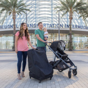 J.L. Childress Spinner Wheelie Deluxe Car Seat Travel Bag, Black