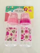 CUDLIE JUVENILE PRODUCTS 2 PACK BABY BOTTLES BPA FREE 330ml Pink and Grey Elephants