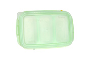 JM Green RRePlus Baby Food Freezer Tray [3 cell] with Date Slider. Flexible, Twistable. BPA Free. Wean Babies into Eating Solid Food. Double Sealing Lid Provided. [Light Green]