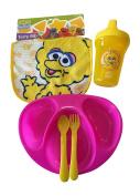 Cute Big Bird Baby Bib, Sippy Cup, Divided Plate, Spoon Gift Bundle