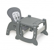 Badger Basket Envee II Baby High Chair with Playtable Conversion, Grey/White