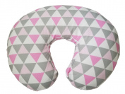 Maternity Breastfeeding Pillow Cover by Danha-Newborn Baby Feeding Cushion Case-Cute Donut Shape Wedge Pillow-Best Infant Support-for New Moms-Triangle Prints Slipcover-Breathable Soft Fabric